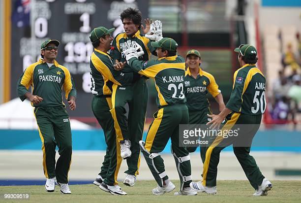 Mohammad Aamer of Pakistan celebrates the wicket of David Warner of Australia during the ICC World Twenty20 semi final between Australia and Pakistan...