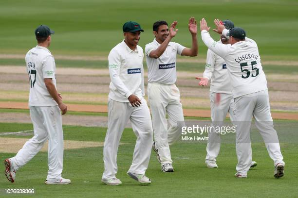 Mohammad Abbas of Leicestershire is congratulated by team mates after dsmissing Ben Raine of Sussex for 56 during the Specsavers County Championship...