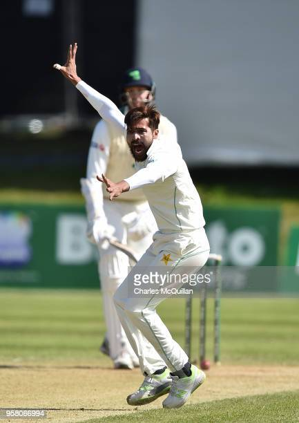 Mohammad Abbas of Pakistan appeals a decision during the third day of the test cricket match between Ireland and Pakistan on May 13 2018 in Malahide...
