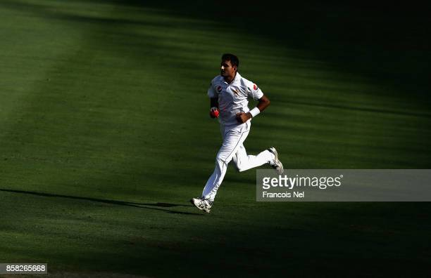 Mohammad Abbas of Pakistan bowls during Day One of the Second Test between Pakistan and Sri Lanka at Dubai International Cricket Ground on October 6...