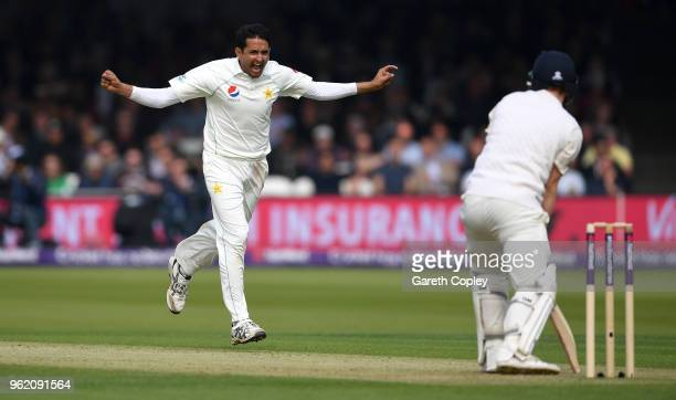 Mohammad Abbas of Pakistan celebrates dismissing Dominic Bess of England during the NatWest 1st Test match between England and Pakistan at Lord's...