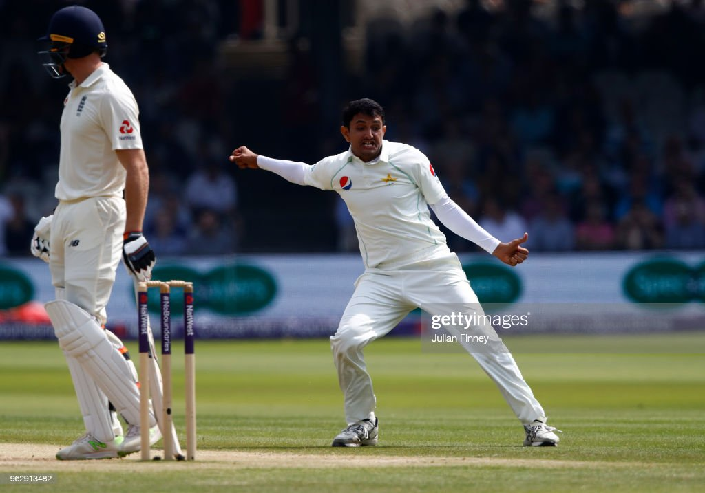 Mohammad Abbas of Pakistan celebrates taking the wicket of Jos Buttler of England during day four of the 1st Test match between England and Pakistan at Lord's Cricket Ground on May 27, 2018 in London, England.