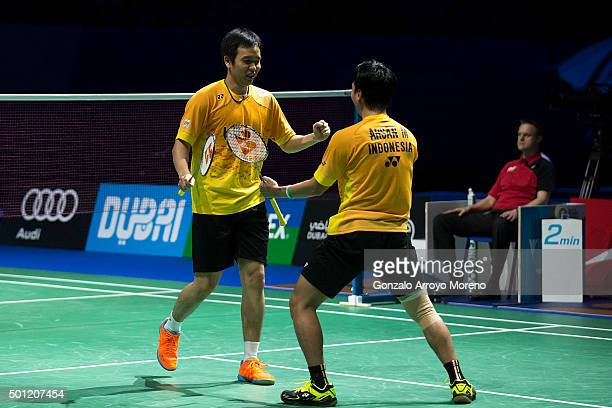 Mohammad Ahsan and Hendra Setiawan of Indonesia celebrate as they win the Final Mens Double match against Chai Biao and Hong Wei of China during day...