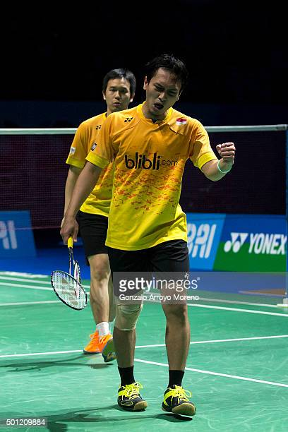Mohammad Ahsan and Hendra Setiawan of Indonesia celebrate as they win the Final Men,s Double match against Chai Biao and Hong Wei of China during day...