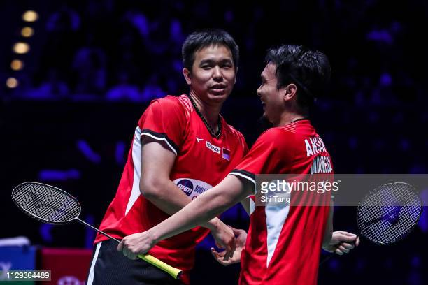 Mohammad Ahsan and Hendra Setiawan of Indonesia celebrate the victory after the Men's Doubles semi finals match against Takeshi Kamura and Keigo...