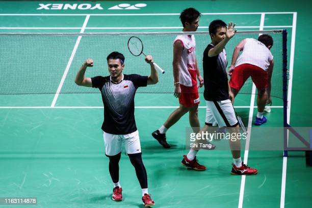 Mohammad Ahsan and Hendra Setiawan of Indonesia celebrate the victory after the Men's Doubles semi finals match against Takuro Hoki and Yugo...