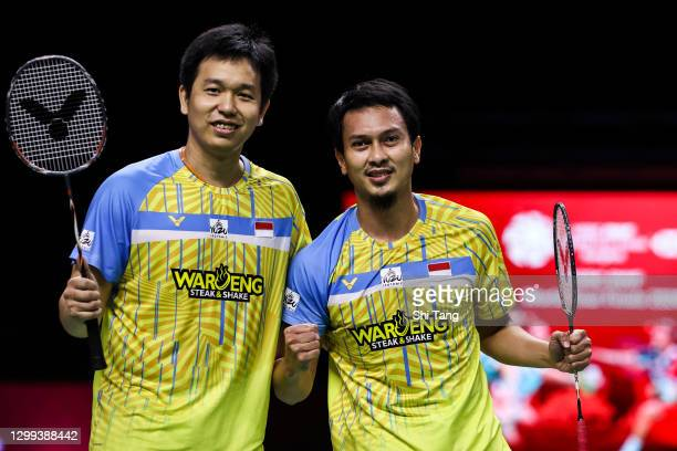 Mohammad Ahsan and Hendra Setiawan of Indonesia celebrate the victory in the Men's Doubles semi finals match against Choi Solgyu and Seo Seung Jae of...