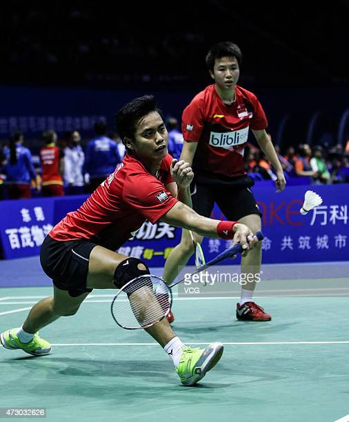 Mohammad Ahsan and Hendra Setiawan of Indonesia compete against Andrew Ellis and Peter Mills of UK during day two of 2015 Sudirman Cup BWF World...