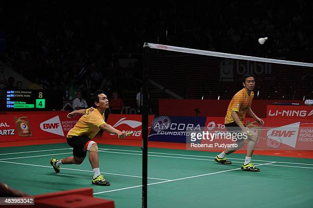Mohammad Ahsan and Hendra Setiawan of Indonesia compete against Marcus Ellis and Chris Langridge of England in the quarter final match of the 2015...