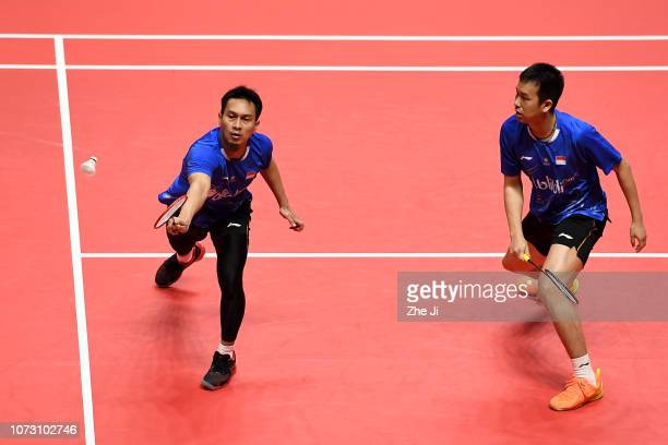 Mohammad Ahsan and Hendra Setiawan of Indonesia compete against Chen Hung Ling and Wang Chi-Lin of Chinese Taipei during their men's doubles match on...