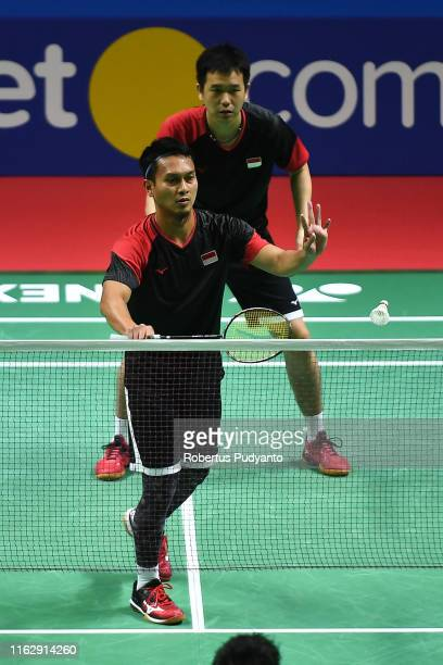 Mohammad Ahsan and Hendra Setiawan of Indonesia compete against Hiroyuki Endo and Yuta Watanabe of Japan on day four of the Bli Bli Indonesia Open at...