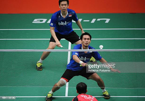 Mohammad Ahsan and Hendra Setiawan of Indonesia compete against Lee Yong Dae and Yoo Yeon Seong of Korea in the semi final match of the 2015 Total...