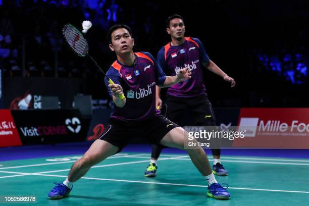 Mohammad Ahsan and Hendra Setiawan of Indonesia compete in the Men's Doubles semi finals match against Marcus Fernaldi Gideon and Kevin Sanjaya...