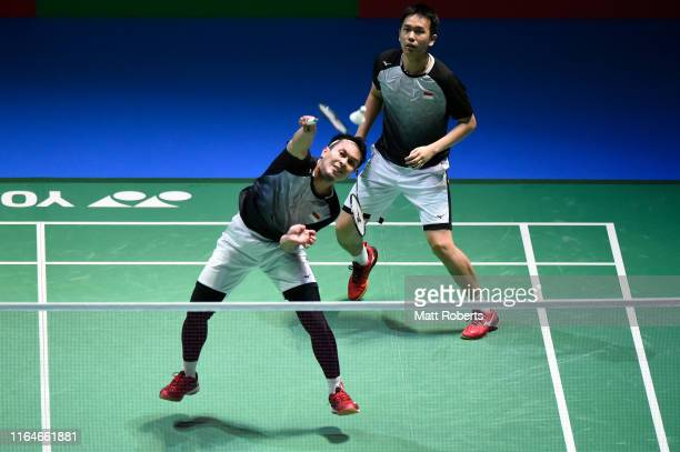 Mohammad Ahsan and Hendra Setiawan of Indonesia compete in the Men's Doubles Final match against Marcus Fernaldi Gideon and Kevin Sanjaya Sukamuljo...