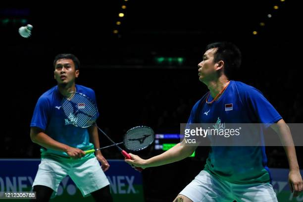 Mohammad Ahsan and Hendra Setiawan of Indonesia compete in the Men's Doubles quarter-final match against Hiroyuki Endo and Yuta Watanabe of Japan on...