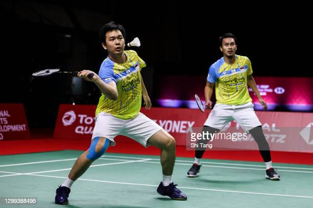Mohammad Ahsan and Hendra Setiawan of Indonesia compete in the Men's Doubles semi finals match against Choi Solgyu and Seo Seung Jae of Korea on day...