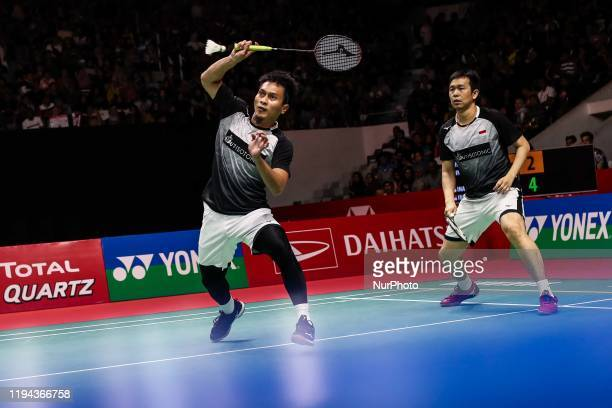 Mohammad Ahsan and Hendra Setiawan of Indonesia competes in the Men Doubles semi-final match against Fajar Alfian and Muhammad Rian Ardianto of...