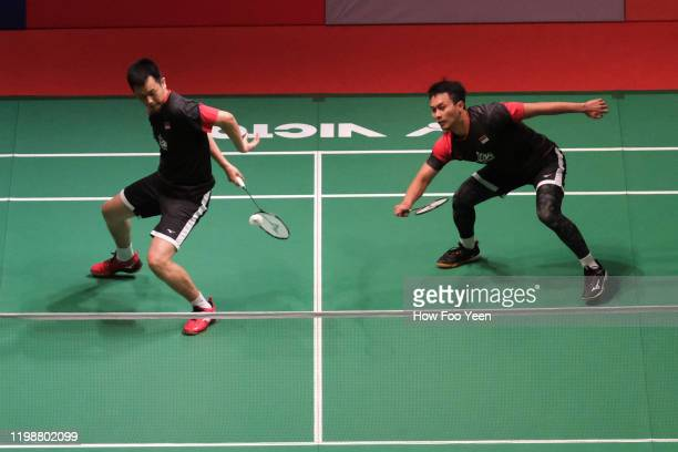 Mohammad Ahsan and Hendra Setiawan of Indonesia in action against Li Jun Hui and Liu Yu Chen of China during the mens double semi-finals at the...