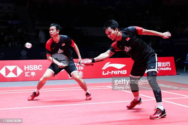 Mohammad Ahsan and Hendra Setiawan of Indonesia in action during the men's doubles semi final match against Lee Yang and Wang CHi-lin of Chinese...