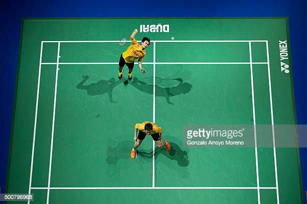 Mohammad Ahsan and Hendra Setiawan of Indonesia in action in the Men's Doubles match against Lee Yong Dae and Yoo Yeon Seong of Korea during day two...