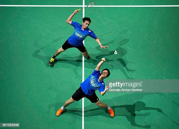 Mohammad Ahsan and Hendra Setiawan of Indonesia in action in the Semifinal Men's Doubles match against Lee Yong Dae Yoo Yeon Seong of Korea during...