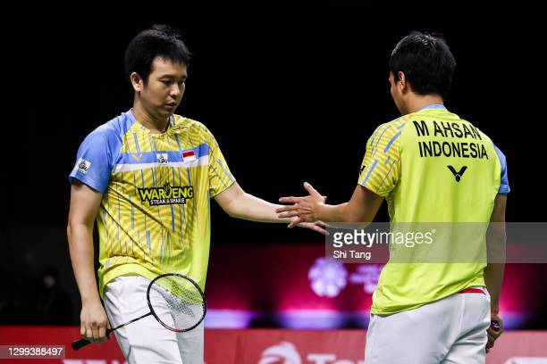 Mohammad Ahsan and Hendra Setiawan of Indonesia react in the Men's Doubles semi finals match against Choi Solgyu and Seo Seung Jae of Korea on day...