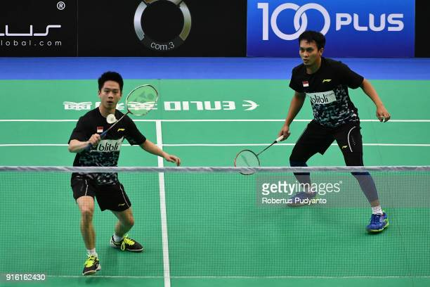 Mohammad Ahsan and Kevin Sanjaya Sukamuljo of Indonesia compete against Takeshi Kamura and Keigo Sonoda of Japan during Men's Team Quarterfinal match...