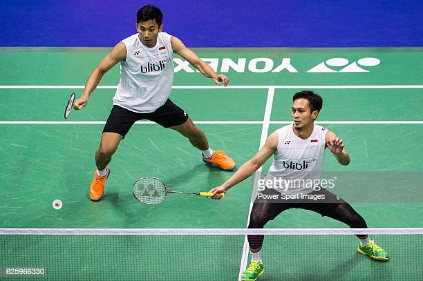 Mohammad Ahsan and Rian Agung Saputro of Indonesia competes against Carsten Mogensen and Mathias Boe of Denmark during their Men's Doubles Semi-Final...