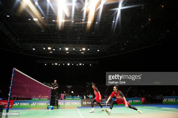Mohammad Ahsan and Rian Agung Saputro of Indonesia in action during day two of YONEX All England Open Badminton Championships at Birmingham...