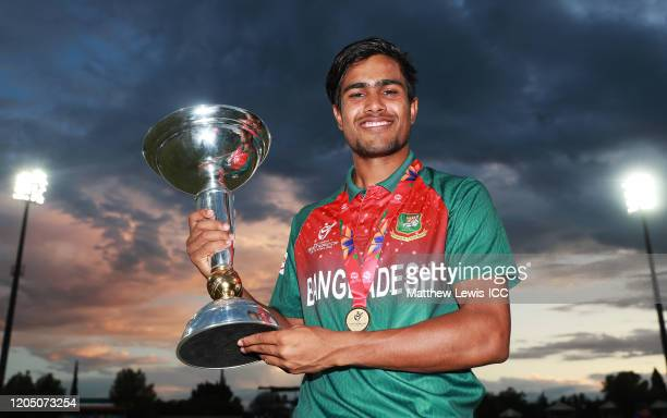 Mohammad Akbar Ali of Bangladesh pictured with the trophy during the ICC U19 Cricket World Cup Super League Final match between India and Bangladesh...