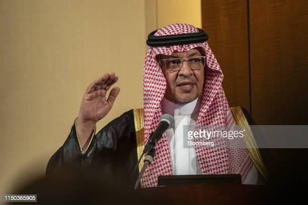 Mohammad Al Tuwaijri, Saudi Arabia's economy minister, gestures while speaking during the Saudi-Japan Vision 2030 Business Forum in Tokyo, Japan on...