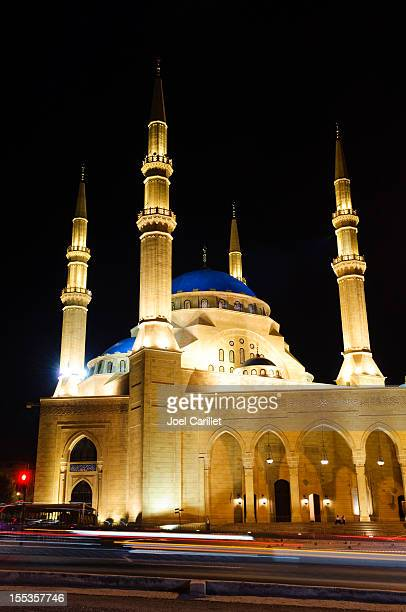 Mosque and traffic at night in Beirut, Lebanon