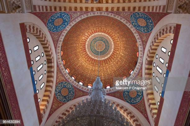 Mohammad Al-Amin Mosque, decorated domed ceiling and chandelier, Beirut, Lebanon
