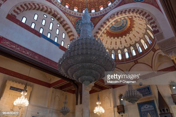 mohammad al-amin mosque, decorated domed ceiling and chandelier, beirut, lebanon - beirut stock pictures, royalty-free photos & images