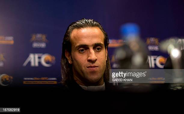 Mohammad Ali Karimi a nominee of AFC Player Of The Year speaks at a press conference in Kuala Lumpur on November 28 2012 Asian Football Confederation...