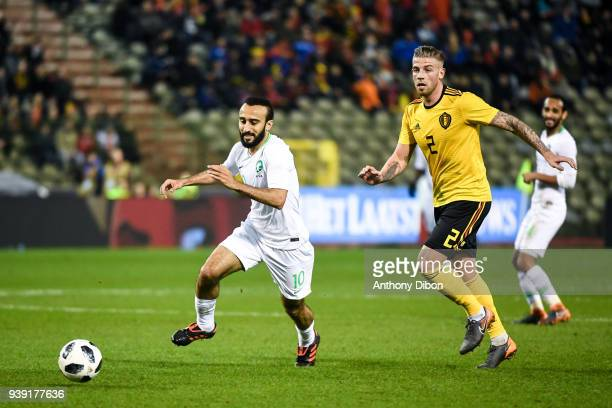 Mohammad Alsahlawi of Saudi Arabia and Toby Alderweireld of Belgium during the International friendly match between Belgium and Saudi Arabia on March...