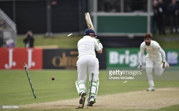 Mohammad Amir clean bowls Niall O'Brien during the fourth day of the international test cricket match between Ireland and Pakistan on May 14 2018 in...