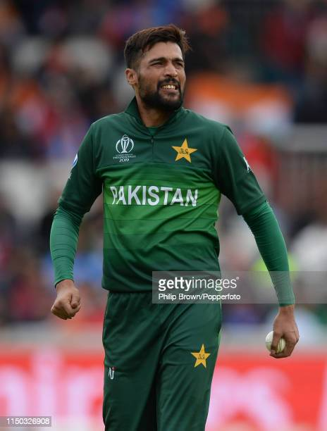 Mohammad Amir looks on during the ICC Cricket World Cup Group Match between India and Pakistan at Old Trafford on June 16 2019 in Manchester England