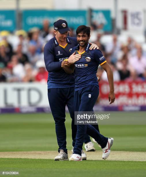 Mohammad Amir of Essex celebrates the wicket of Jason Roy during the Natwest T20 Blast match between Essex and Surrey at Cloudfm County Ground on...