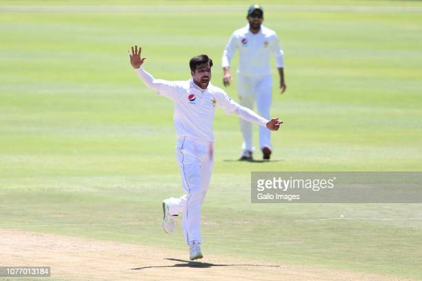 Mohammad Amir of Pakistan appeals unsuccessfully for LBW during day 2 of the 2nd Castle Lager Test match between South Africa and Pakistan at PPC...