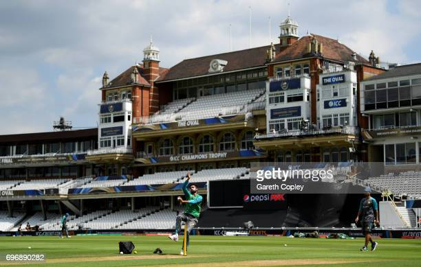 Mohammad Amir of Pakistan bowls during a nets session at The Kia Oval on June 17 2017 in London England