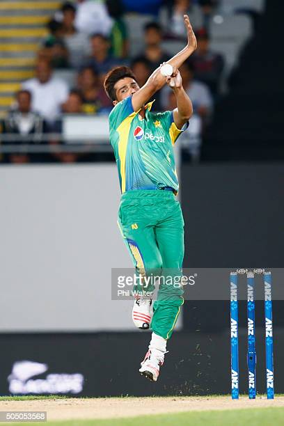 Mohammad Amir of Pakistan bowls during the first T20 match at Eden Park on January 15 2016 in Auckland New Zealand