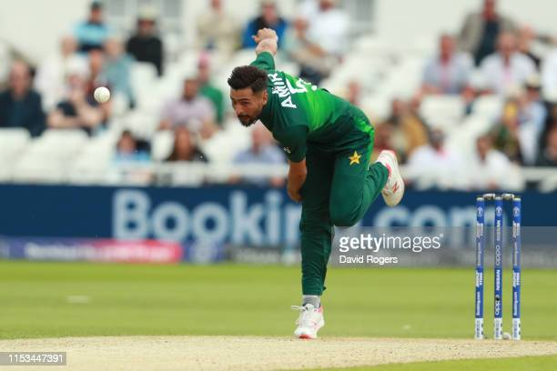 Mohammad Amir of Pakistan bowls during the Group Stage match of the ICC Cricket World Cup 2019 between England and Pakistan at Trent Bridge on June...