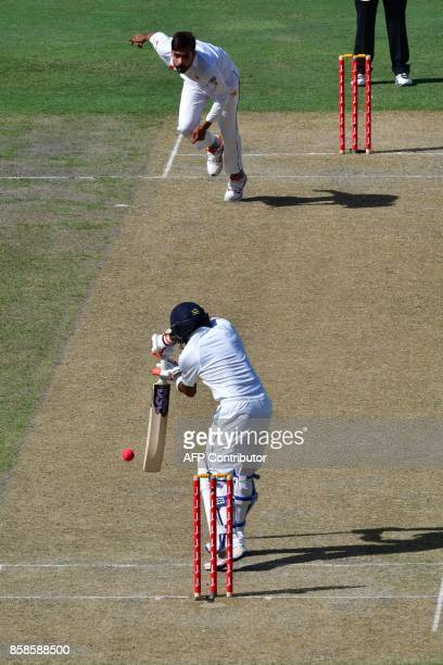 Mohammad Amir of Pakistan bowls on Niroshan Dickwella of Sri Lanka during the second day of the second Test cricket match between Sri Lanka and...