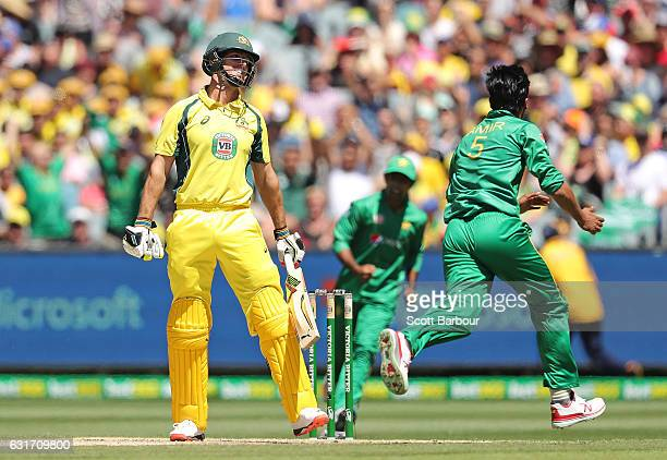 Mohammad Amir of Pakistan celebrates after dismissing Mitchell Marsh of Australia during game two of the One Day International series between...