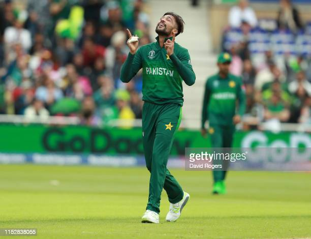 Mohammad Amir of Pakistan celebrates after taking the wicket of Chris Gayle during the Group Stage match of the ICC Cricket World Cup 2019 between...
