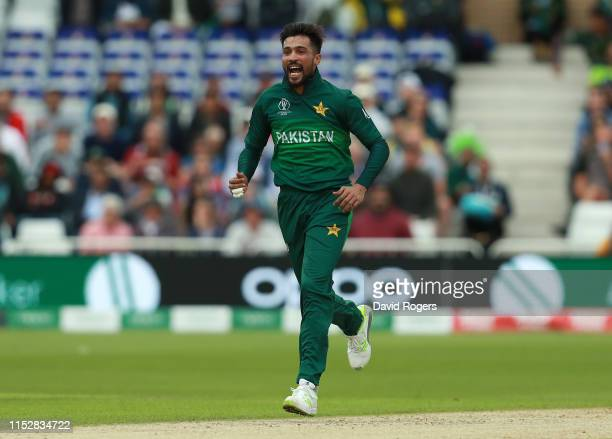 Mohammad Amir of Pakistan celebrates after taking the wicket of Darren Bravo during the Group Stage match of the ICC Cricket World Cup 2019 between...