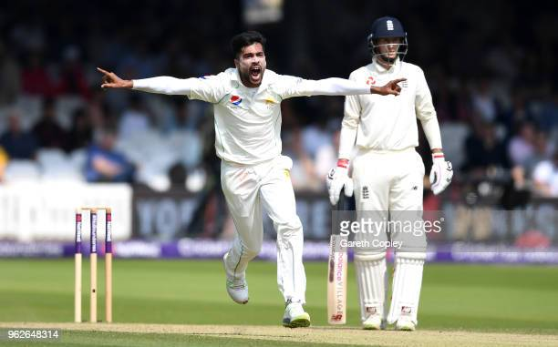 Mohammad Amir of Pakistan celebrates dismissing Jonathan Bairstow of England during day three of the 1st NatWest Test match between England and...