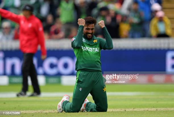 Mohammad Amir of Pakistan celebrates taking the wicket of Mitchell Starc of Australia during the Group Stage match of the ICC Cricket World Cup 2019...