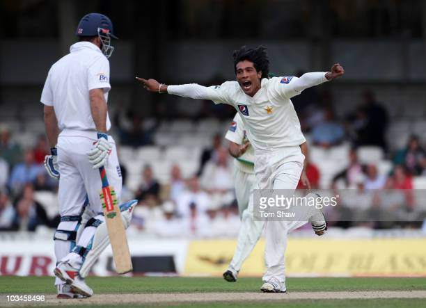 Mohammad Amir of Pakistan celebrates the wicket of Andrew Strauss of England during day two of the npower 3rd Test Match between England and Pakistan...
